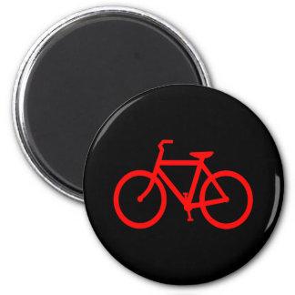 Bici roja imán redondo 5 cm
