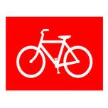 Bici roja y blanca tarjeta postal