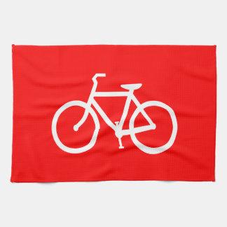 Bici roja y blanca toallas de cocina