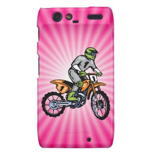 Bici rosada de la suciedad droid RAZR carcasas