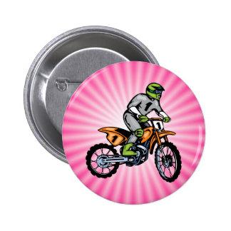 Bici rosada de la suciedad pin redondo de 2 pulgadas