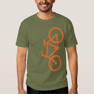 Bici, silueta vertical, diseño anaranjado playera