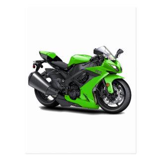 Bici verde de Ninja Tarjetas Postales