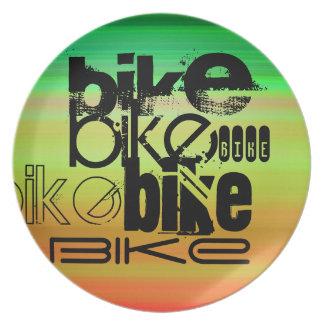 Bici; Verde vibrante, naranja, y amarillo Plato De Cena