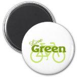 bici verde viva imán de frigorífico