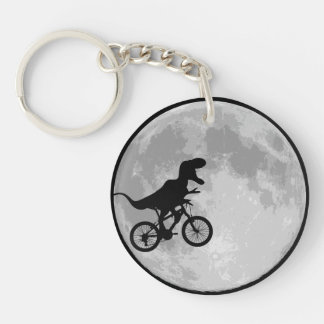 Bici y luna del dinosaurio llaveros