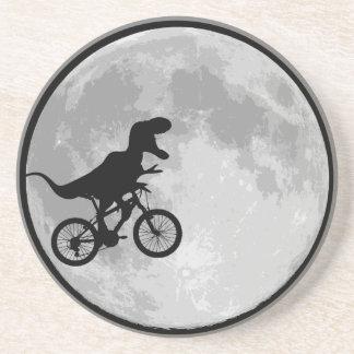Bici y luna del dinosaurio posavasos personalizados