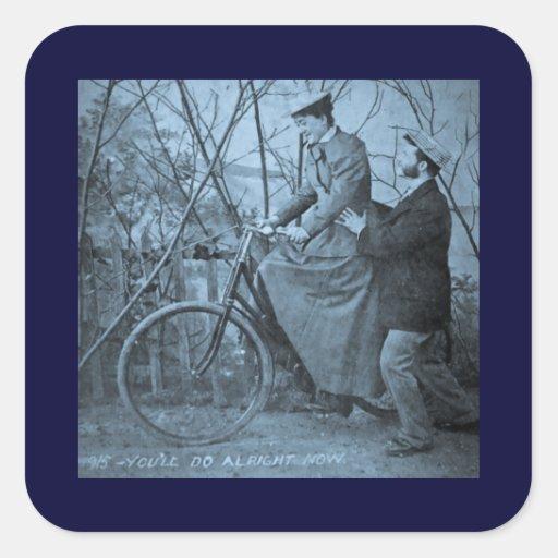 Bicicleta 1915 del vintage - usted hará todo a la pegatina cuadrada
