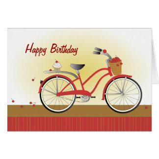 Bicicleta alegre de la cereza felicitación