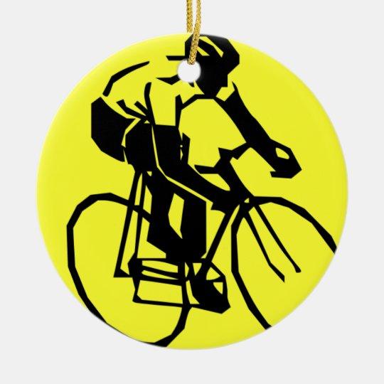 Bicicleta amarilla colorida de la bici adorno navideño redondo de cerámica