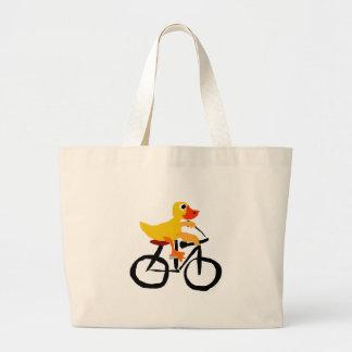 Bicicleta amarilla divertida del montar a caballo bolsa de tela grande