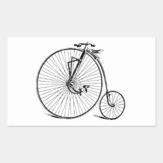 Bicicleta antigua de la rueda grande del vintage rectangular pegatina