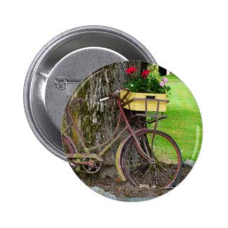 Bicicleta antigua vieja con la cesta de la flor pins