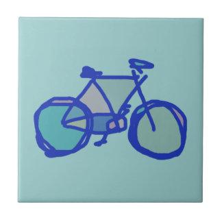 bicicleta azul azulejo cuadrado pequeño