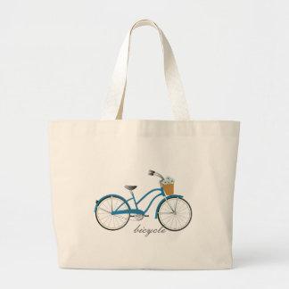 Bicicleta azul bolsa tela grande