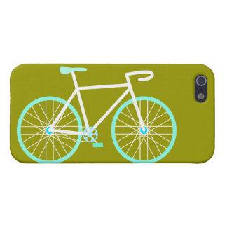 Bicicleta azul y blanca iPhone 5 carcasas