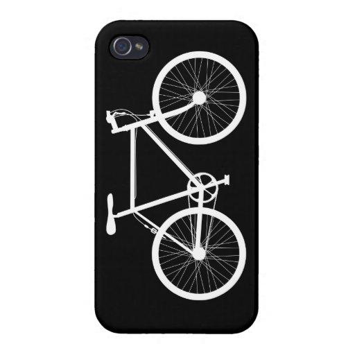 Bicicleta blanco y negro iPhone 4 protectores