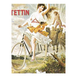 Bicicleta bonita del vintage del montar a caballo membrete
