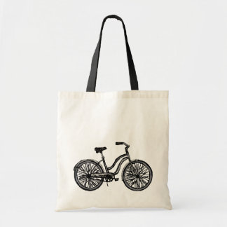 Bicicleta clásica, la bolsa de asas del dibujo lin