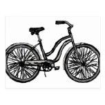 Bicicleta clásica, productos del dibujo lineal postal