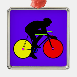 Bicicleta coloreada multi de la bici adorno navideño cuadrado de metal