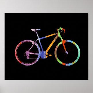 bicicleta colorida en negro póster