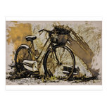 Bicicleta com cesta de flores tarjetas postales