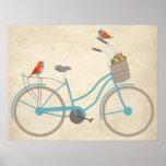 Bicicleta con los pájaros poster