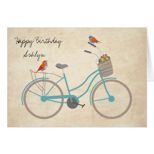 Bicicleta con los pájaros tarjeta de felicitación