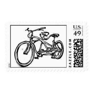 Bicicleta construida para 2 (tándem antiguo de sellos