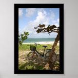 Bicicleta contra árbol posters