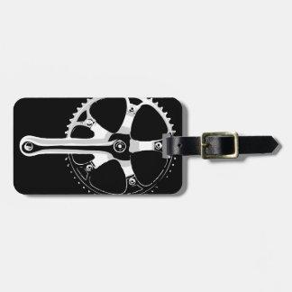 Bicicleta Crankset - blanco de Pista en negro Etiquetas Para Maletas
