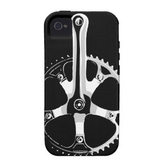 Bicicleta Crankset - blanco de Pista en negro iPhone 4 Fundas