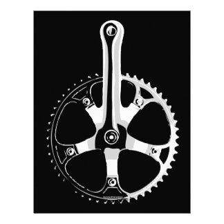 Bicicleta Crankset - blanco de Pista en negro Plantillas De Membrete