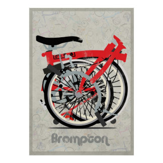 Bicicleta de Brompton doblada Impresiones