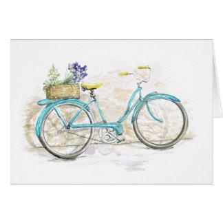 Bicicleta de la acuarela de la aguamarina con la tarjeta pequeña
