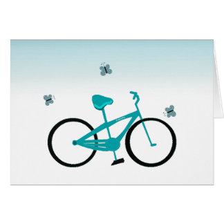 Bicicleta de la aguamarina felicitación