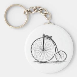 Bicicleta de la Alto-Rueda del vintage del comino Llavero Redondo Tipo Pin