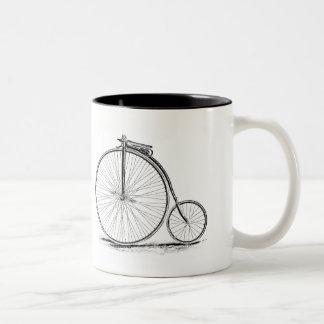 Bicicleta de la Alto-Rueda del vintage del comino  Taza De Café