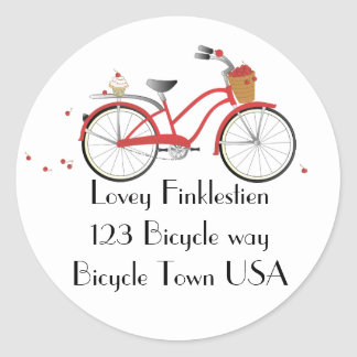 Bicicleta de la cereza de Chery Pegatina Redonda