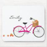 Bicicleta de las rosas fuertes con los naranjas alfombrillas de raton