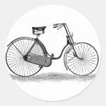 Bicicleta de las señoras del vintage pegatina redonda