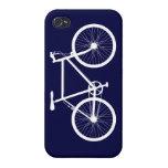Bicicleta de los azules marinos y del blanco iPhone 4/4S carcasa