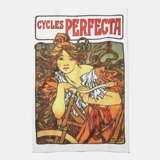 Bicicleta de Nouveau del arte - Alfonso Mucha Toallas De Mano