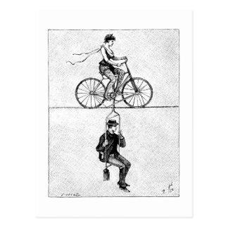Bicicleta del cable de alta tensión - acto de cicl postales