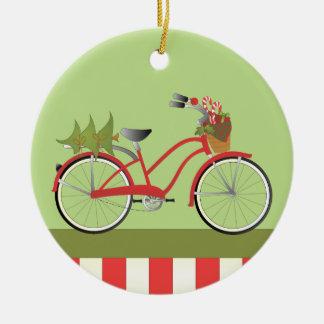Bicicleta del día de fiesta adorno redondo de cerámica