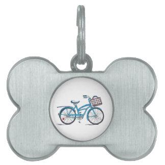 Bicicleta del lunar de la acuarela placa de nombre de mascota