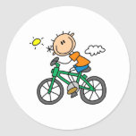 Bicicleta del montar a caballo del muchacho del pegatina redonda
