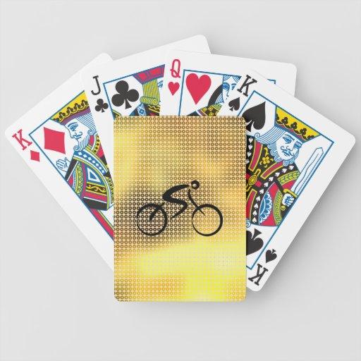 Bicicleta del oro de la lentejuela barajas de cartas