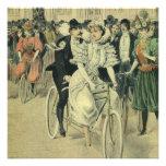 Bicicleta del tándem del paseo del novio de la nov invitaciones personalizada